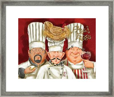 Chefs With Fresh Eggs Framed Print by Shari Warren