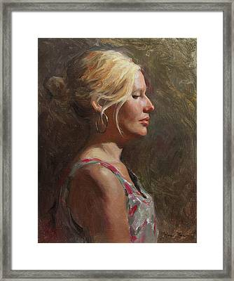 Chelsey In Profile Framed Print by Anna Rose Bain