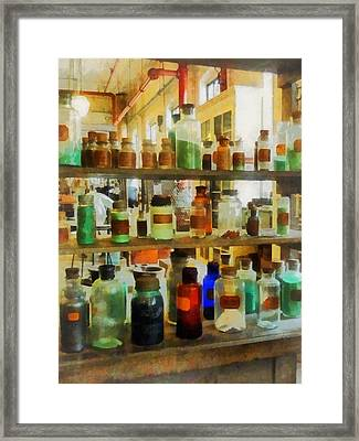 Chemistry - Bottles Of Chemicals Green And Brown Framed Print by Susan Savad