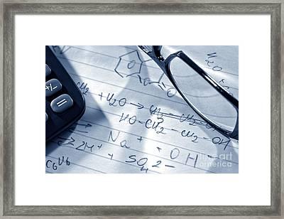 Chemistry Formulas Framed Print by Olivier Le Queinec