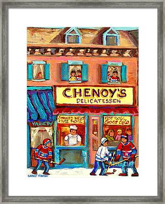 Chenoys Delicatessen Montreal Landmarks Painting  Carole Spandau Street Scene Specialist Artist Framed Print by Carole Spandau