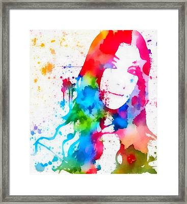 Cher Paint Splatter Portrait Framed Print by Dan Sproul