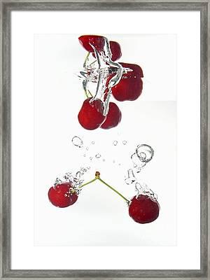 Cherries Fruits Splashing Underwater Framed Print by Sami Sarkis