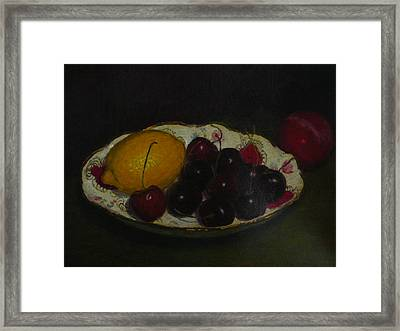 Cherries In A German Dish Framed Print by Terry Perham