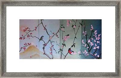 Cherry At The Foot Of Mount Fuji Framed Print by Sorin Apostolescu