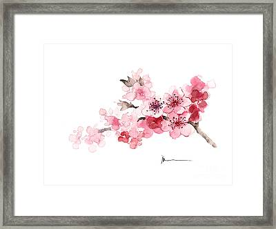 Cherry Blossom Branch Watercolor Art Print Painting Framed Print by Joanna Szmerdt