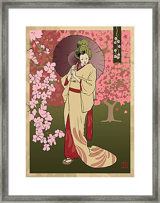 Cherry Blossom Framed Print by H James Hoff