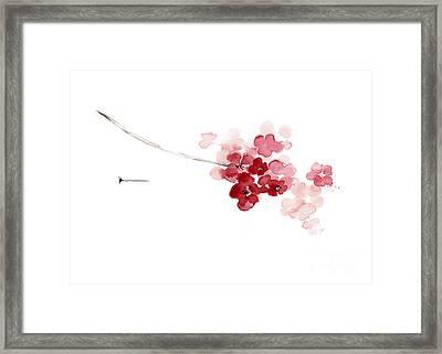Cherry Blossom Watercolor Art Print Decor Japanese Sakura Home Decor Framed Print by Joanna Szmerdt