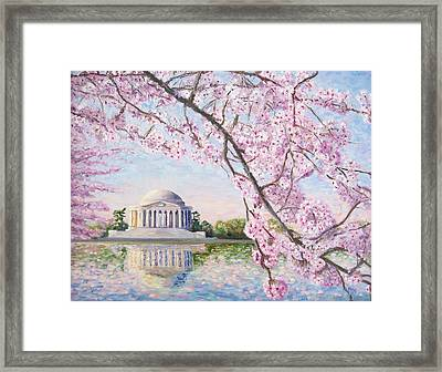 Jefferson Memorial Cherry Blossoms Framed Print by Patty Kay Hall
