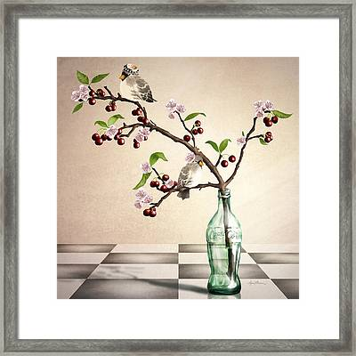 Cherry Coke Framed Print by April Moen