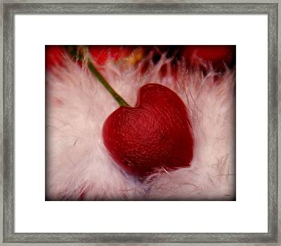 Cherry Heart Framed Print by Linda Sannuti