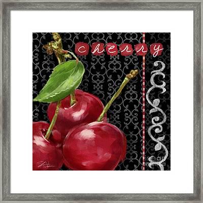 Cherry On Black And White Framed Print by Shari Warren
