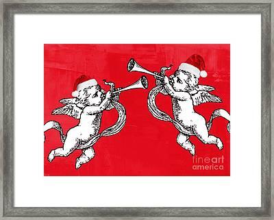 Cherubims And Santa Hats Framed Print by Mindy Bench