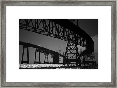 Chesapeake Bay Bridge At Annapolis Framed Print by Skip Willits