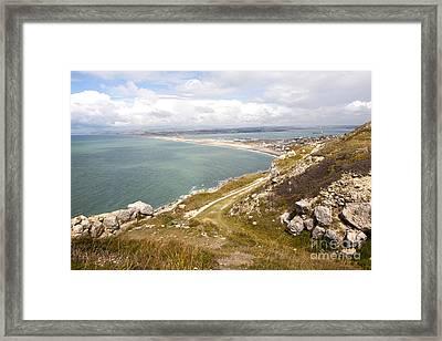 Chesil Beach With Weymouth Harbour Beyond Isle Of Portland Dorset England Framed Print by Ian Murray