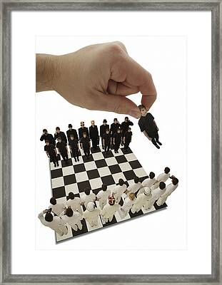 Chess Being Played With Little People Framed Print by Darren Greenwood