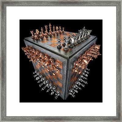Chess Board In A Cube Shape Framed Print by Ktsdesign
