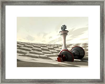 Chess Desert Game Over Framed Print by Allan Swart