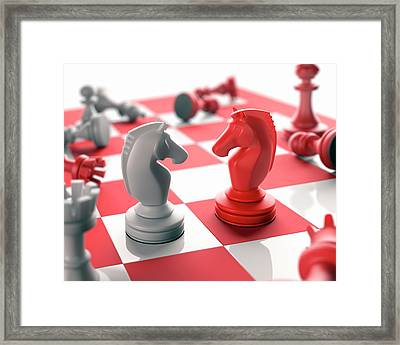 Chess Pieces On Chess Board Framed Print by Ktsdesign