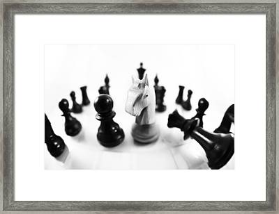 Chess Posters Black And White Framed Print by Falko Follert