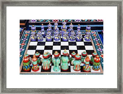 Chess Set In Bukhara Uzbekistan Framed Print by Robert Preston