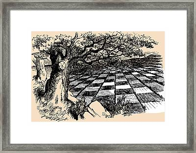 Chessboard Through The Looking Glass Framed Print by John Tenniel