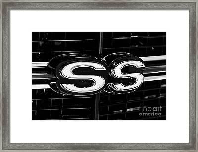 Chevelle Ss Super Sport Emblem Black And White Picture Framed Print by Paul Velgos