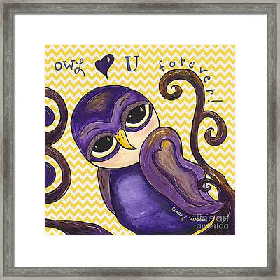 Chevron Owl Love You Forever Framed Print by Cindy Watkins