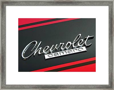 Chevy Camaro In Red Framed Print by Charlette Miller