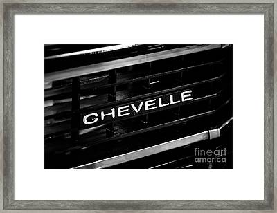Chevy Chevelle Grill Emblem Black And White Picture Framed Print by Paul Velgos