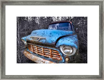 Chevy In The Woods Framed Print by Debra and Dave Vanderlaan