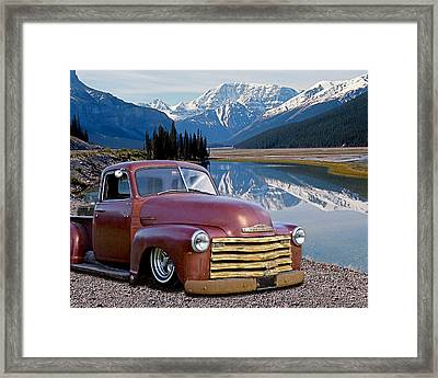 Chevy Pick Up In The Rockies Framed Print by Gill Billington