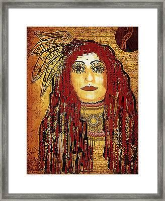 Cheyenne Woman Warrior Framed Print by Pepita Selles
