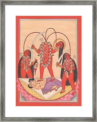 Chhinnamasta Kali Kalika Tantric Yogi Kundalini Meditation India Painting Artwork India Framed Print by A K Mundhra