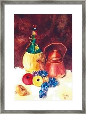 Chianti Wine Bottle  Framed Print by Jackie Lewis