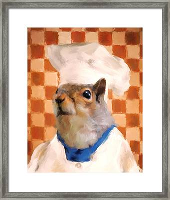 Chic Squirrel Chef Framed Print by Jai Johnson