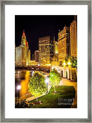 Chicago At Night Picture Framed Print by Paul Velgos