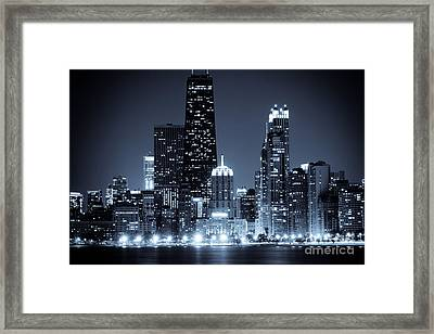 Chicago At Night With Hancock Building Framed Print by Paul Velgos