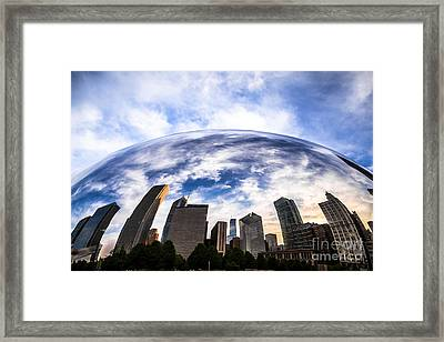 Chicago Bean Cloud Gate Skyline Framed Print by Paul Velgos