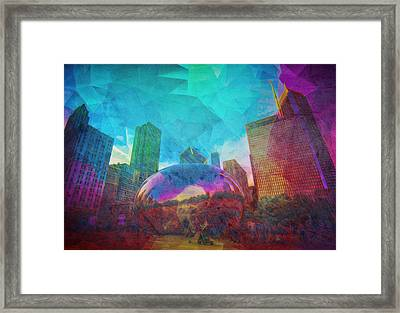 Chicago Bean Skyline Illinois Digital Paint Framed Print by David Haskett