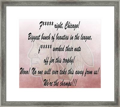 Chicago Blackhawks Crawford's Speech Framed Print by Dan Sproul