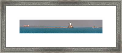 Chicago Breakwater And Lighthouse Framed Print by Cliff C Morris Jr