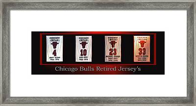 Chicago Bulls Retired Jerseys Banners Framed Print by Thomas Woolworth