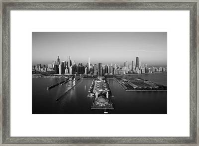 Chicago By Air Bw Framed Print by Jeff Lewis