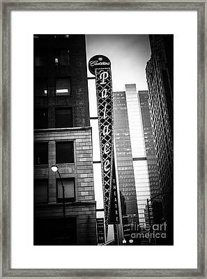 Chicago Cadillac Palace Theatre Sign In Black And White Framed Print by Paul Velgos