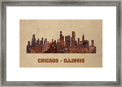 Chicago City Skyline Rusty Metal Shape On Canvas Framed Print by Design Turnpike