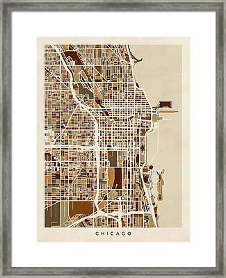 Chicago City Street Map Framed Print by Michael Tompsett