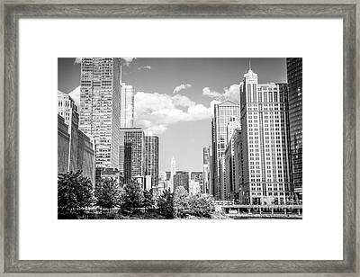 Chicago Cityscape Black And White Picture Framed Print by Paul Velgos