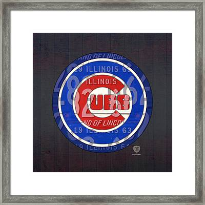 Chicago Cubs Baseball Team Retro Vintage Logo License Plate Art Framed Print by Design Turnpike
