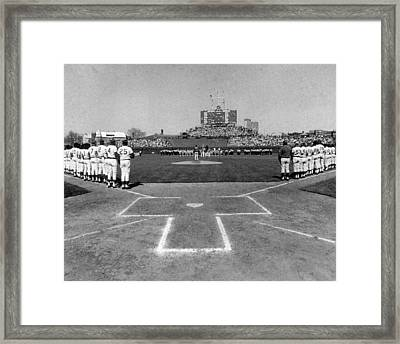 Chicago Cubs National Anthem  Framed Print by Retro Images Archive